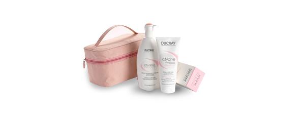 Crema y leche corporal Ducray Ictyane con neceser