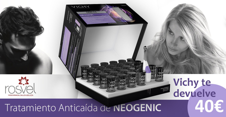 Comprar Neogenic, tratamiento anticaída de Vichy en Rosvel Parafarmacia. Promoción descuento de 40€.