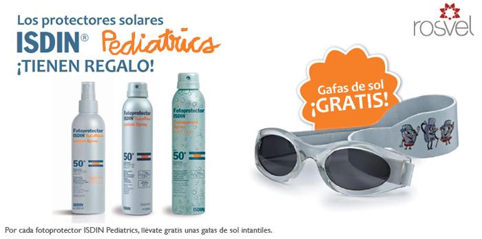Protectores solares ISDIN de promoción en Rosvel Parafarmacia: gafas gratis.