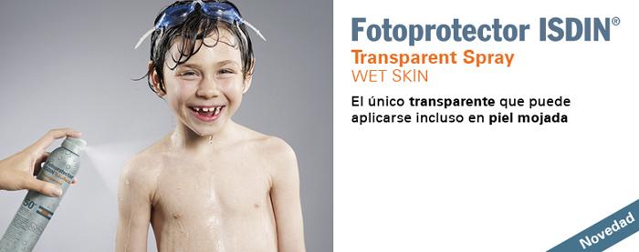 Imagen promocional del fotoprotector Wet Skin de ISDIN de venta en Rosvel Parafarmacia