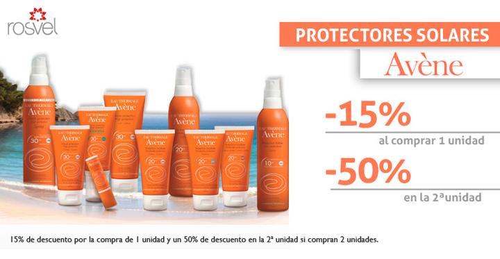 Imagen promocional: descuento en los protectores solares de la marca Avène en Rosvel Parafarmacia