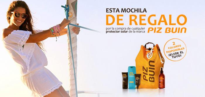 Promoción mochila de regalo al comprar un protector solar Piz Buin en la parafarmacia online Rosvel